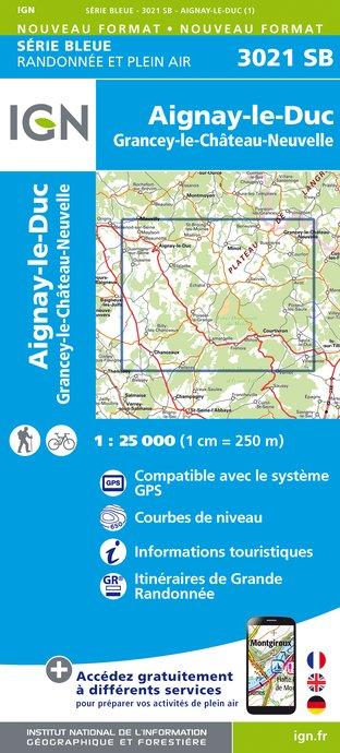 Wandelkaart - Topografische kaart 3021SB Grancey-le-Château-Neuvelle - Aignay-le-Duc | IGN