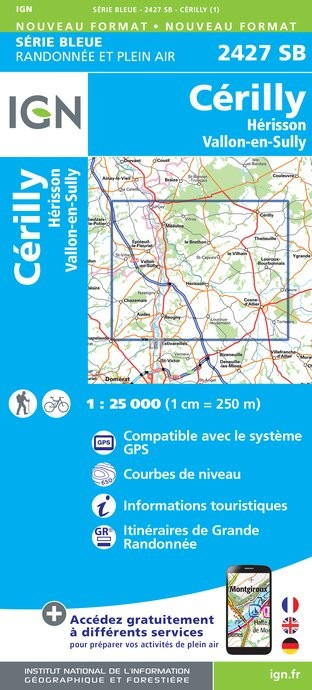 Topografische kaart - Wandelkaart 2427SB Cérilly, Hérisson, Vallon-en-Sully | IGN