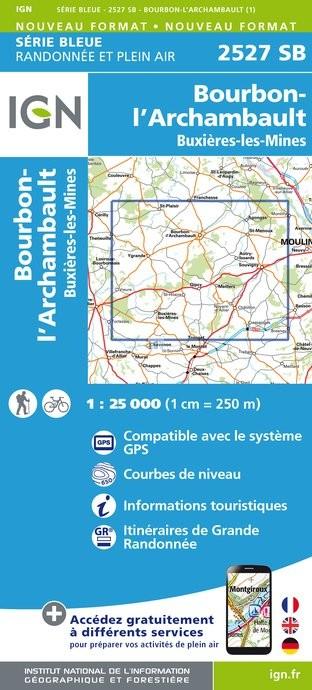 Topografische kaart - Wandelkaart 2527SB Bourbon-l'Archambault, Buxières-les-Mines | IGN