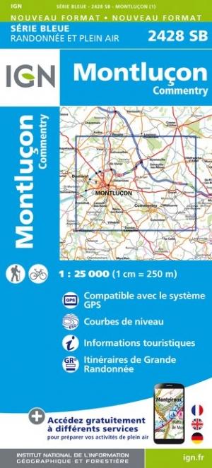 Wandelkaart - Topografische kaart 2428SB Commentry, Montluçon | IGN