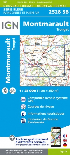 Wandelkaart - Topografische kaart 2528SB Tronget - Montmarault | IGN