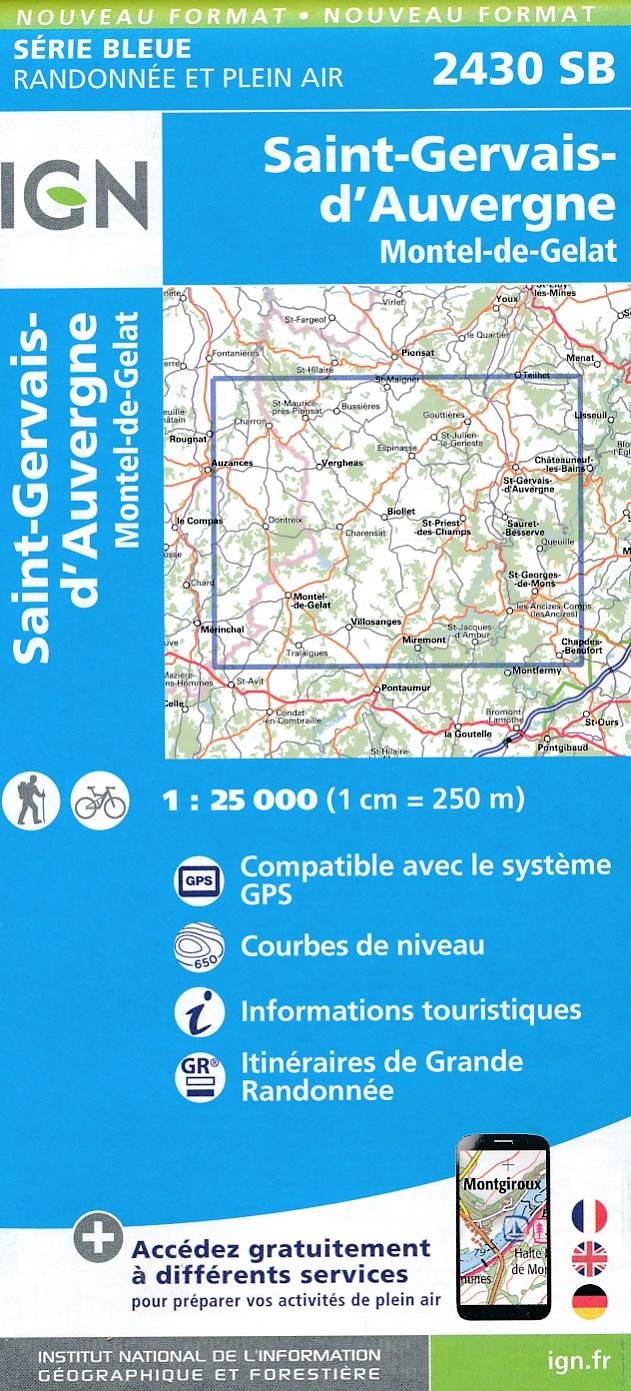 Wandelkaart - Topografische kaart 2430SB Saint-Gervais d'Auvergne | IGN