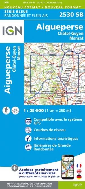 Wandelkaart - Topografische kaart 2530SB Aigueperse, Châtel-Guyon, Manzat | IGN
