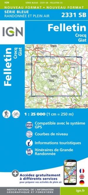 Wandelkaart - Topografische kaart 2331SB Crocq - Giat - Felletin | IGN