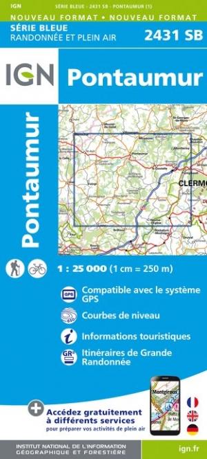 Wandelkaart - Topografische kaart 2431SB Pontaumur | IGN