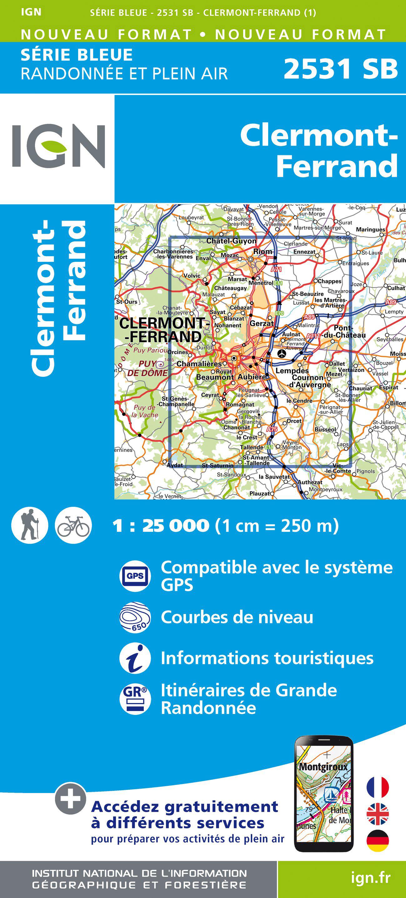 Wandelkaart - Topografische kaart 2531SB Clermont-Ferrand | IGN