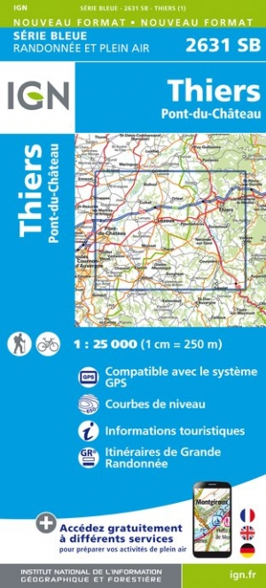 Wandelkaart - Topografische kaart 2631SB Thiers | IGN