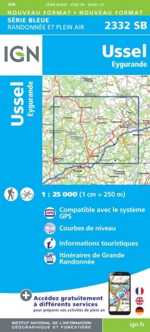 Wandelkaart - Topografische kaart 2332SB Eygurande - Ussel | IGN