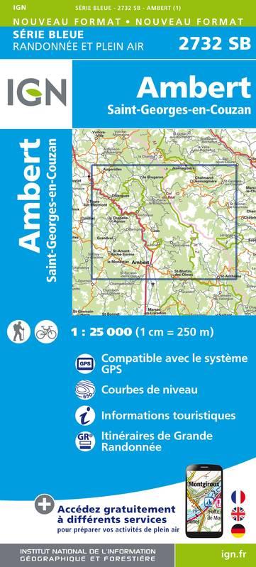 Wandelkaart - Topografische kaart 2732SB Ambert, St-Georges-en-Couzan | IGN