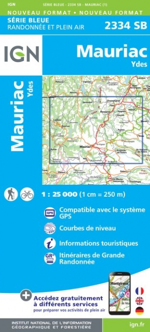 Wandelkaart - Topografische kaart 2334SB Ydes - Mauriac | IGN