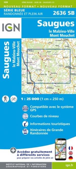 Wandelkaart - Topografische kaart 2636SB Le Malzieu-Ville, Mont Mouchet, Saugues | IGN