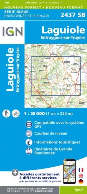 Wandelkaart - Topografische kaart 2437SB Laguiole, Entraygues-sur-Truyere | IGN