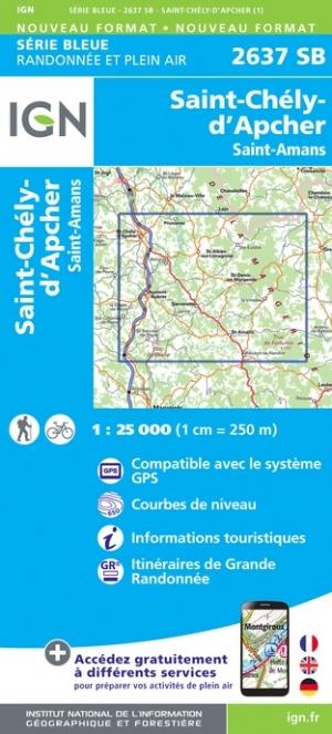 Wandelkaart - Topografische kaart 2637SB St-Amans (Lozère), St-Chély-d'Apcher | IGN