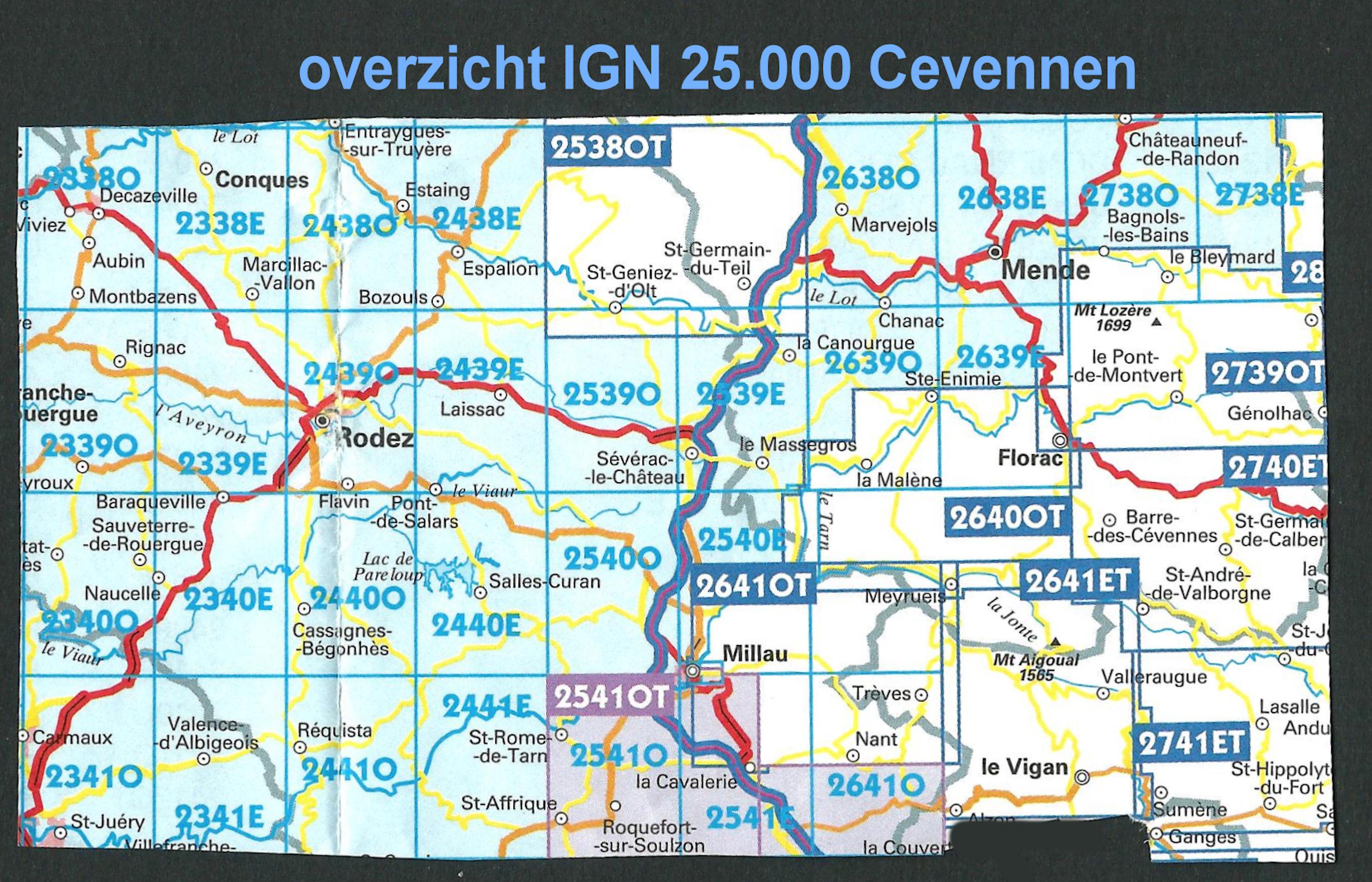 Wandelkaart Topografische Kaart 2541ot Millau St Affrique Pnr