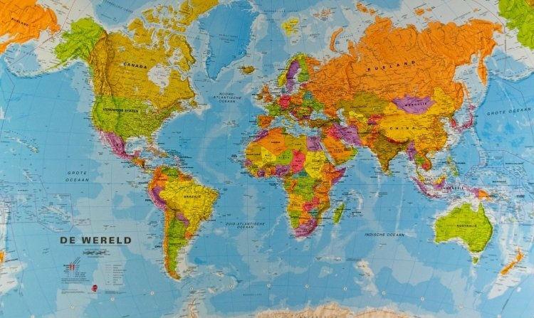 Wereldkaart 66PH-mvl Politiek, 136 X 100 Cm