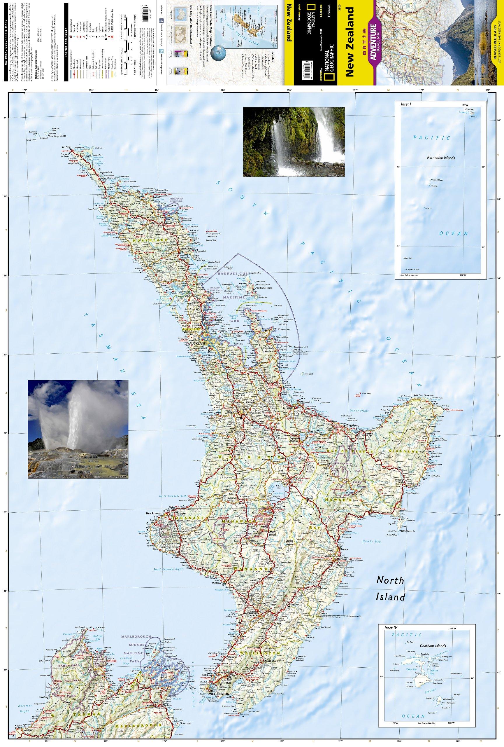 wegenkaart - landkaart 3500 adventure map new zealand