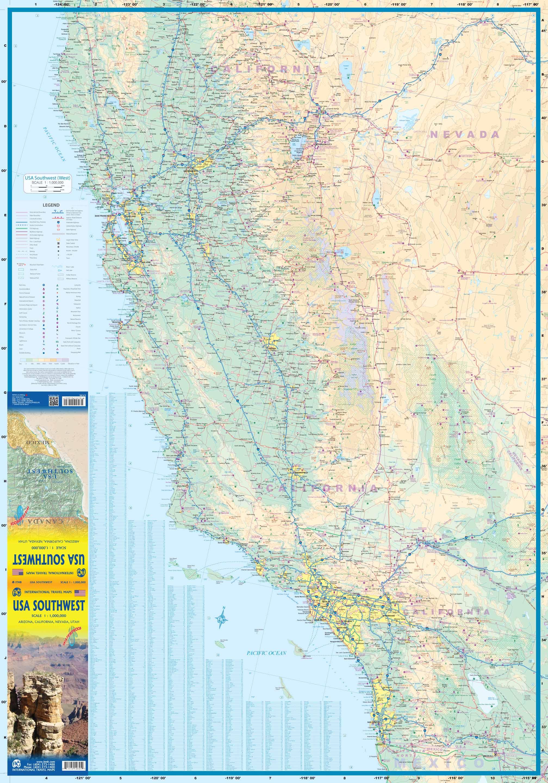 Wegenkaart Landkaart Usa Southwest Zuidwest Itmb