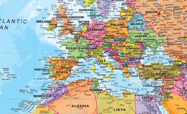 Wereldkaart Als Behangpapier Politieke Kaart 232 X 158 Cm Maps