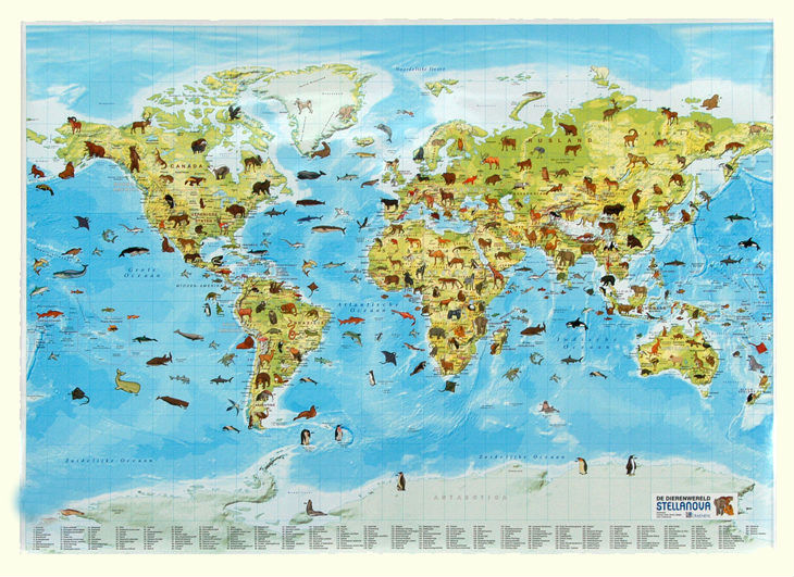 Wereldkaart 95p dieren van de wereld 136 x 97 cm stella nova in de aanbieding kopen - Vloerlamp van de wereld ...