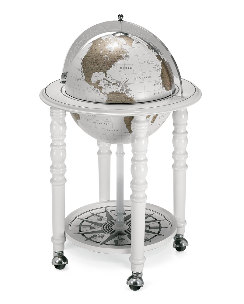 barglobe wereldbol elegance wit zoffoli. Black Bedroom Furniture Sets. Home Design Ideas