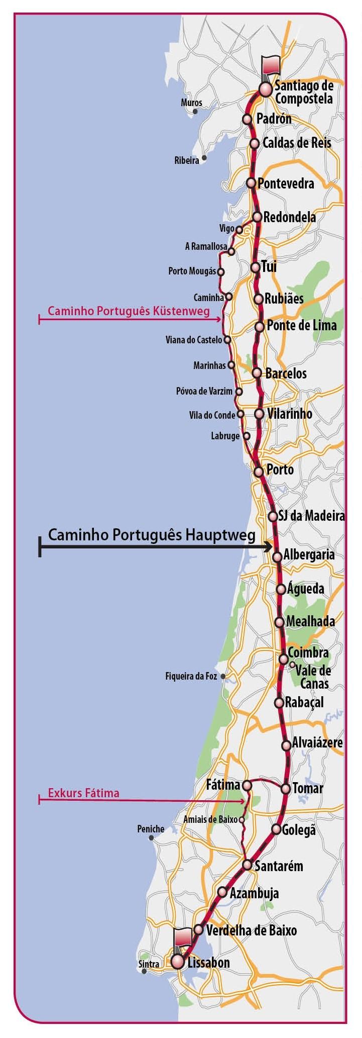 Camino Portugues Karte.Wandelgids Pelgrimsroute Caminho Português Hützen Verlag