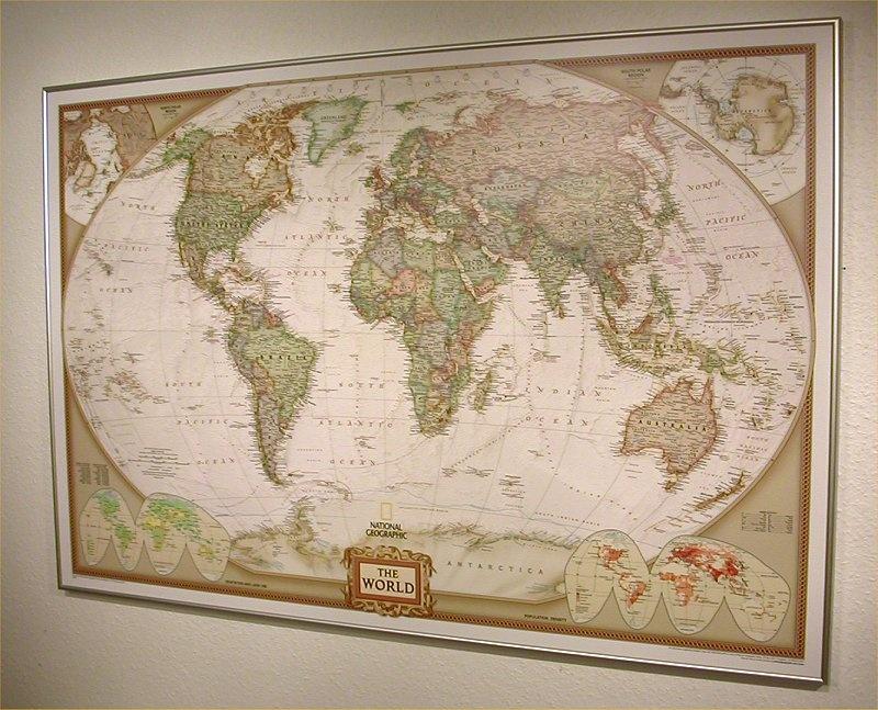 Prikbord 26pr wereldkaart politiek 117 x 76 cm national geographic 0427494675673 - Mand linnen huis van de wereld ...