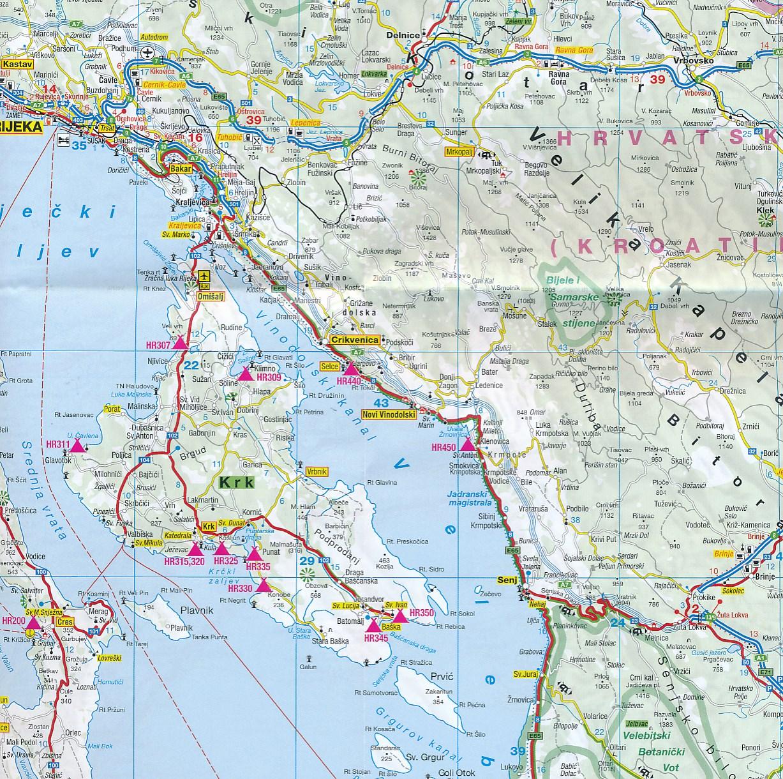 Camperkaart Wegenkaart Landkaart Kroatische Kust Kroatische