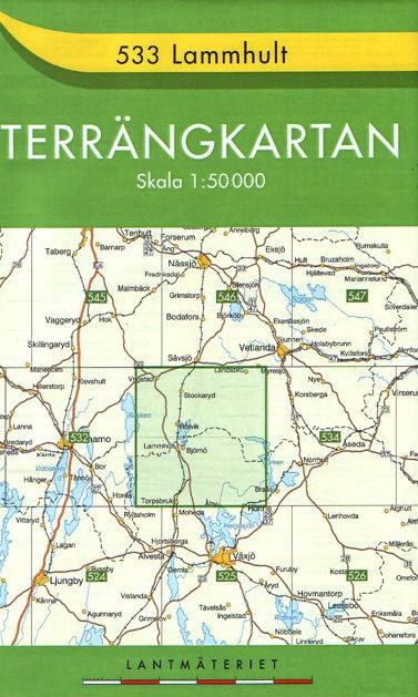 Wandelkaart Topografische kaart 533 Terrängkartan Lammhult Lantmäteriet DeWereldOntdekke