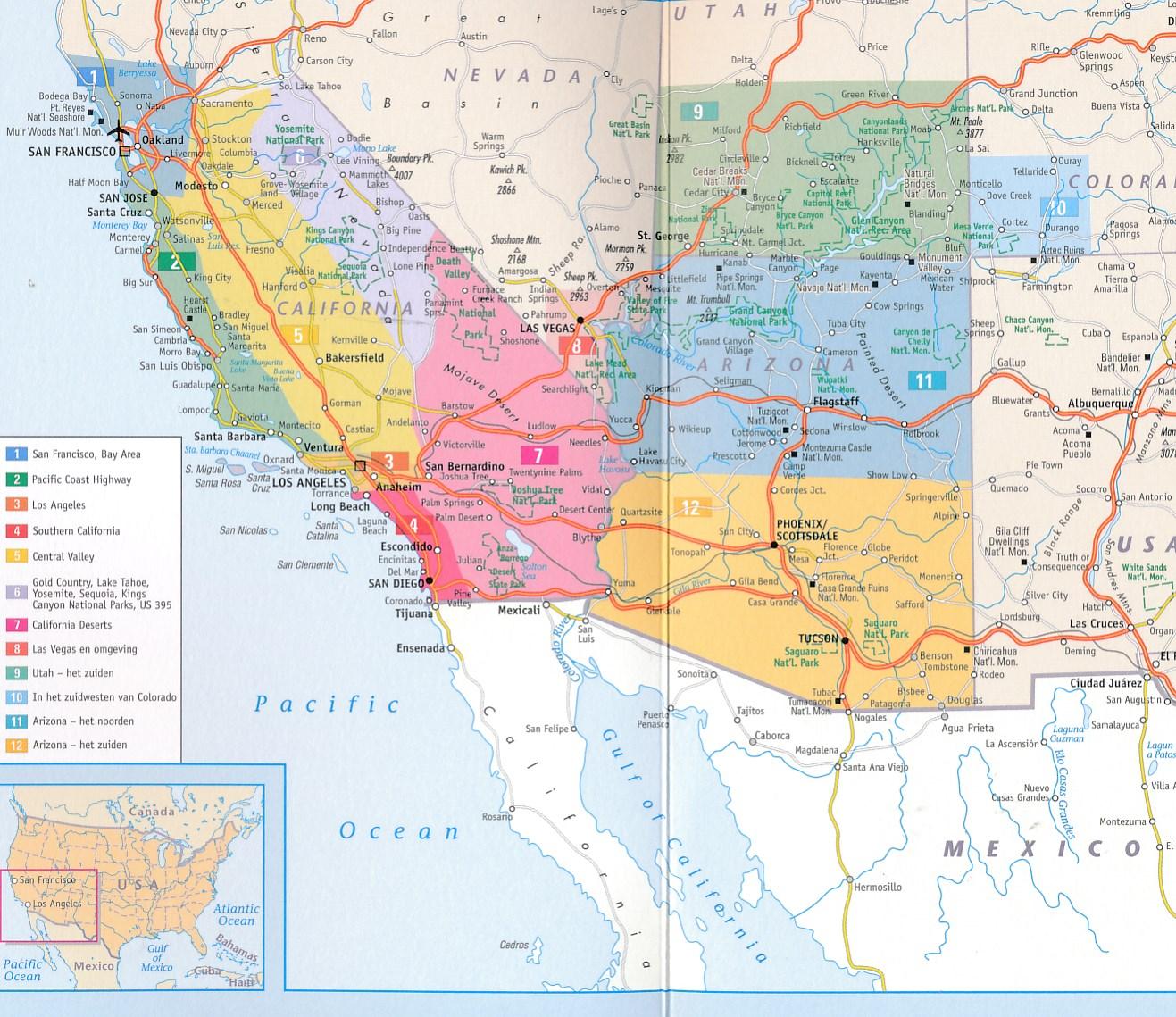 Heloohaloo 25 Afbeeldingen Wegenkaart West Amerika