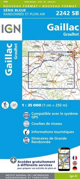 Wandelkaart - Topografische kaart 2242SB Gaillac, Graulhet | IGN - Institut Géographique National de zwerver