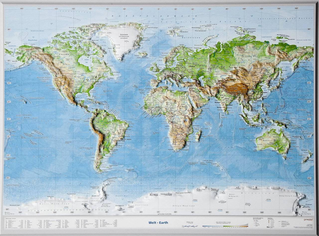 Wereldkaart - Reliëfkaart met voelbaar 3D reliëf 77 x 57 x 1,0 cm | GeoRelief de zwerver