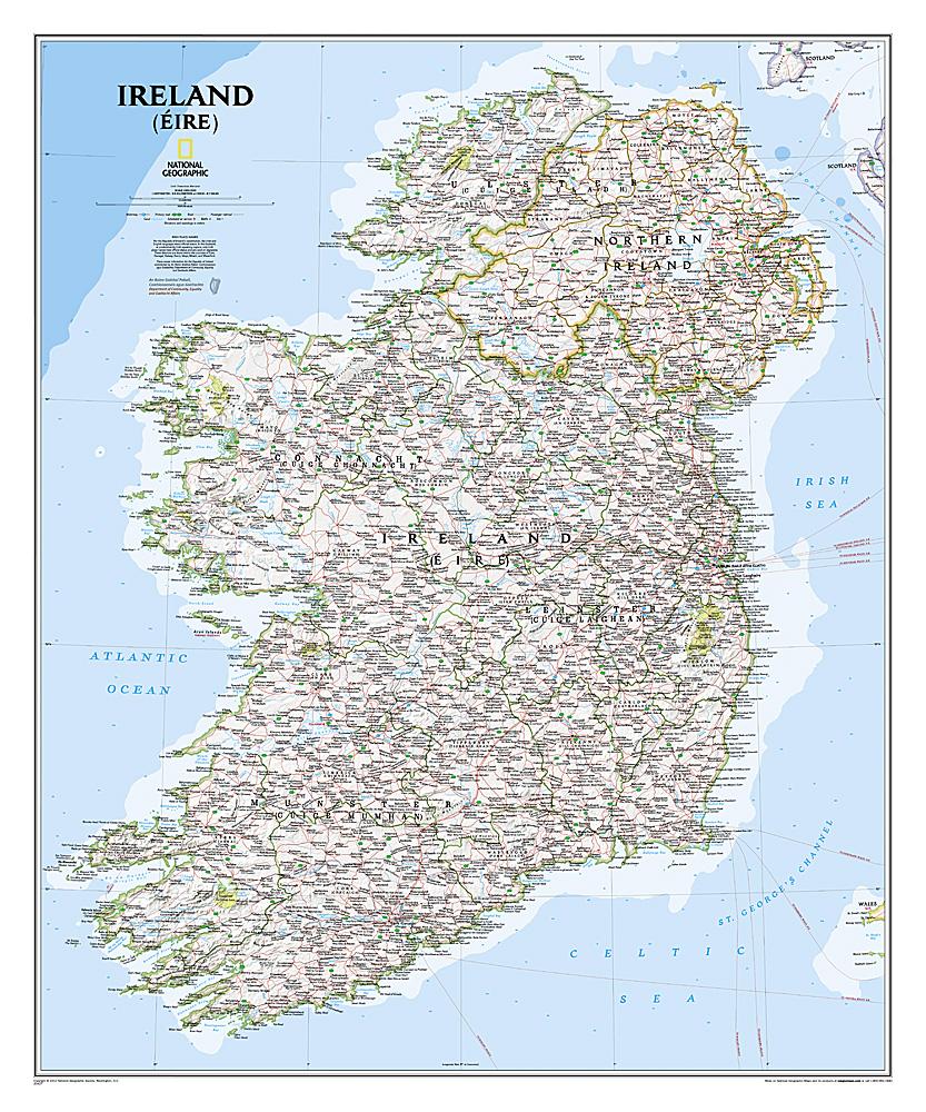 Wandkaart Ireland - Ierland, 76 x 91 cm | National Geographic de zwerver