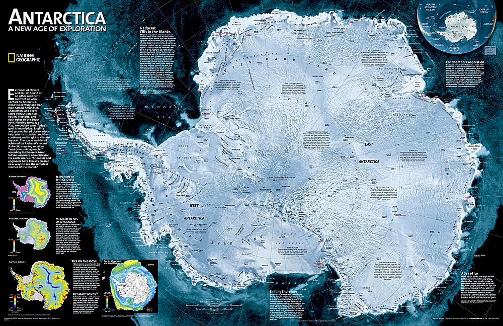 Wandkaart Antarctica Satellite Map, 78 x 50 cm | National Geographic de zwerver