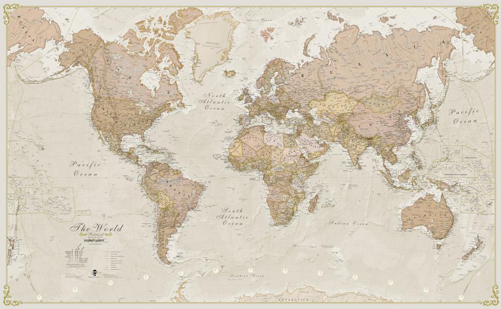 Wereldkaart 90P Antiek & politiek, 136 x 84 cm | Maps International de zwerver