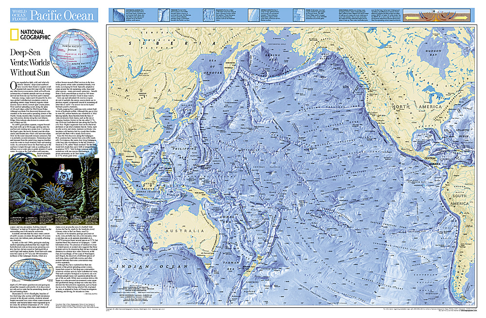 Wereldkaart Pacific ocean - grote oceaan oceaanbodem, 83 x 55 cm | National Geographic de zwerver