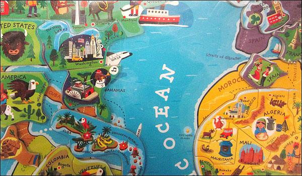 Puzzel  Kinderwereldkaart Magnetic World Map  Janod