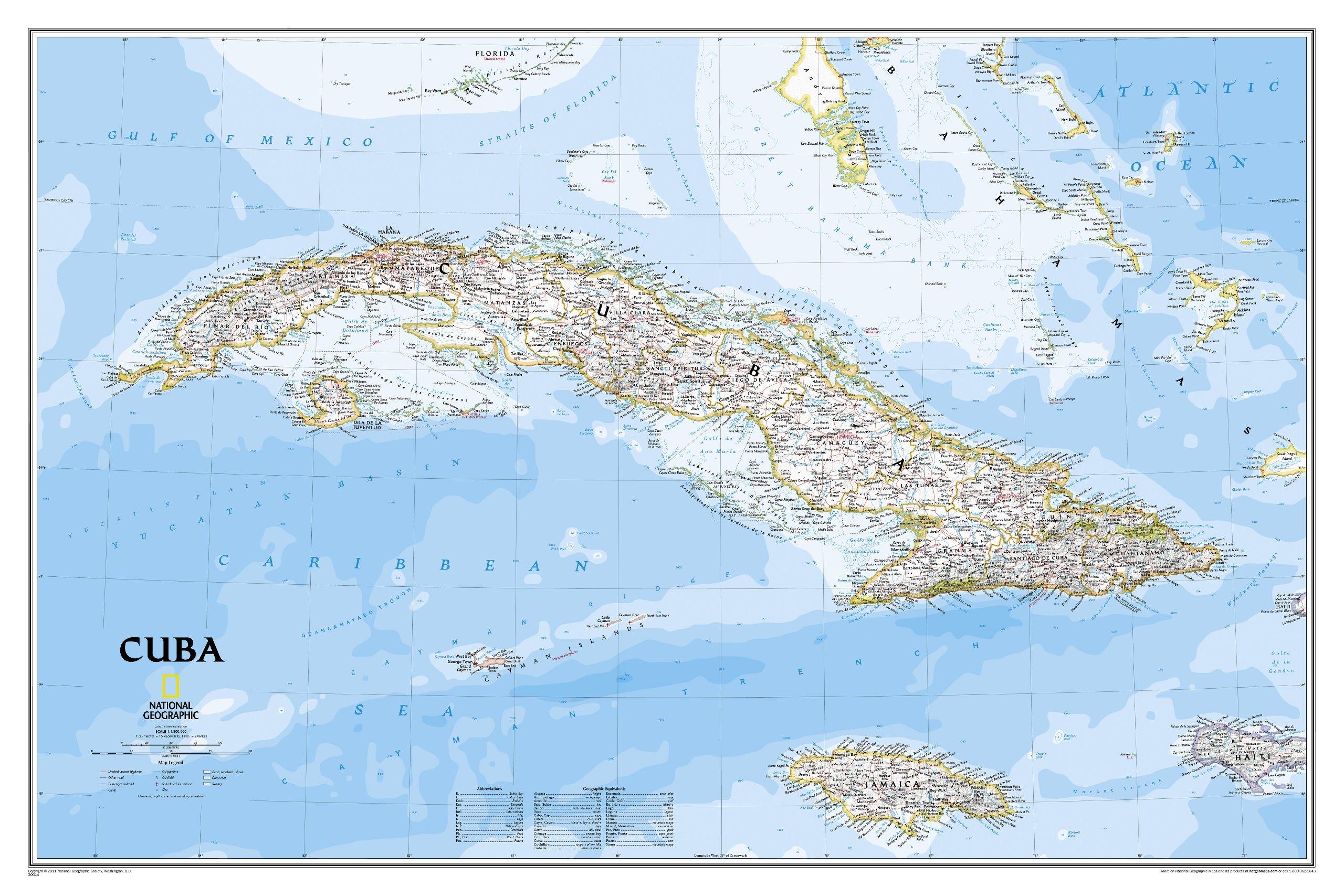 Wandkaart Cuba, 92 x 61 cm | National Geographic