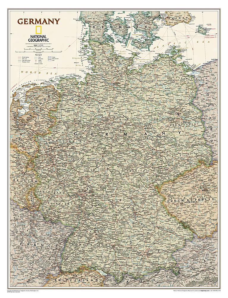 Wandkaart Duitsland, antiek, 60 x 77 cm | National Geographic de zwerver