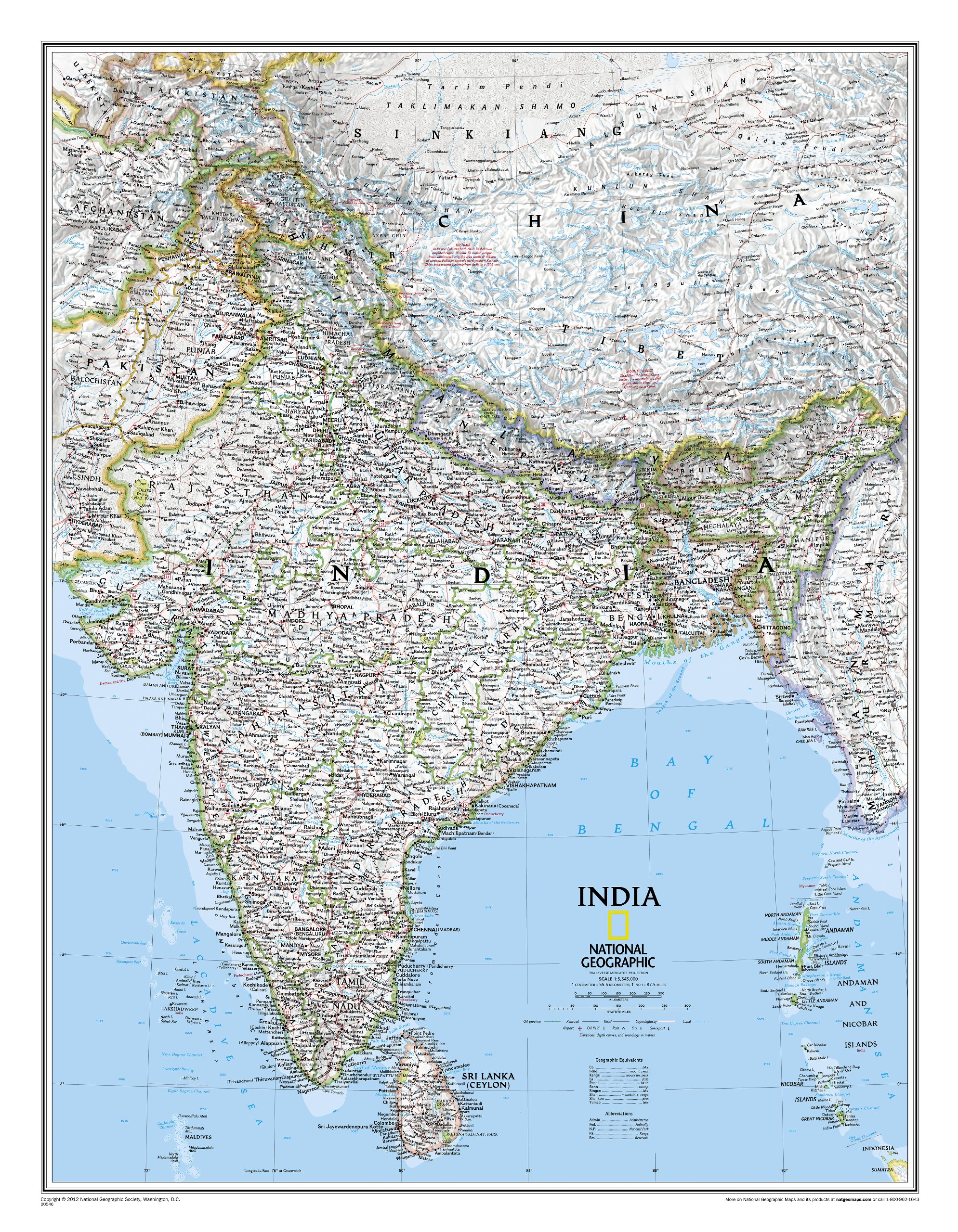 Wandkaart India, 60 x 77 cm | National Geographic