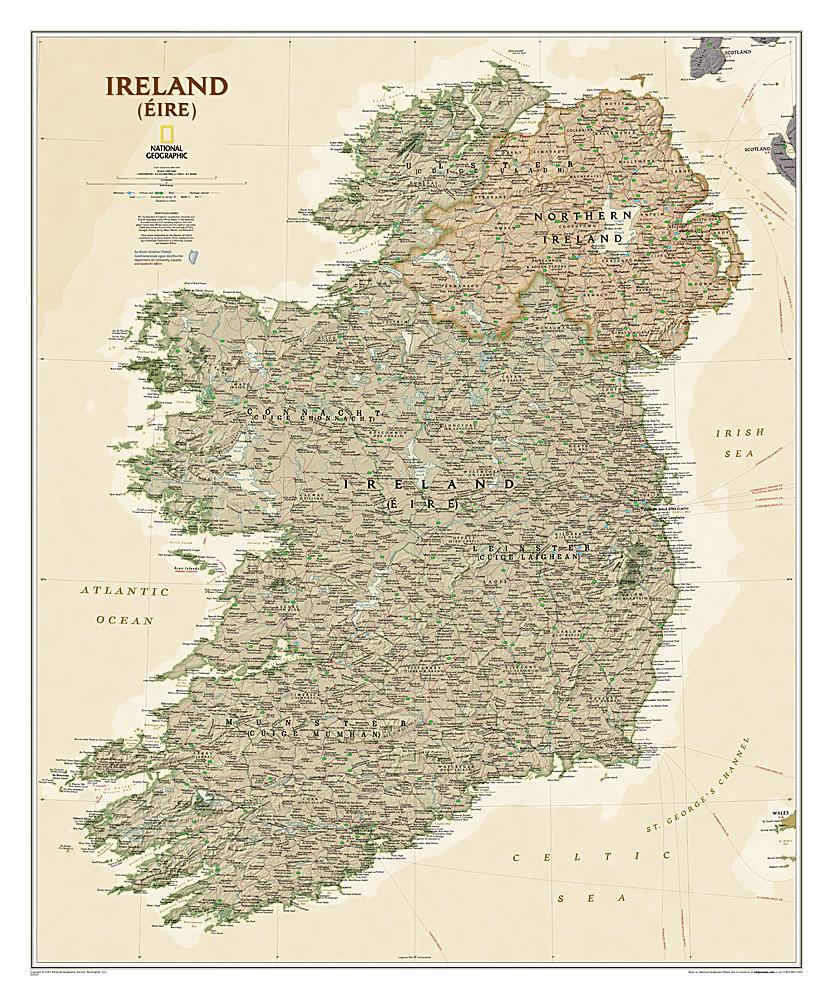 Wandkaart Ierland, antiek, 76 x 92 cm | National Geographic de zwerver