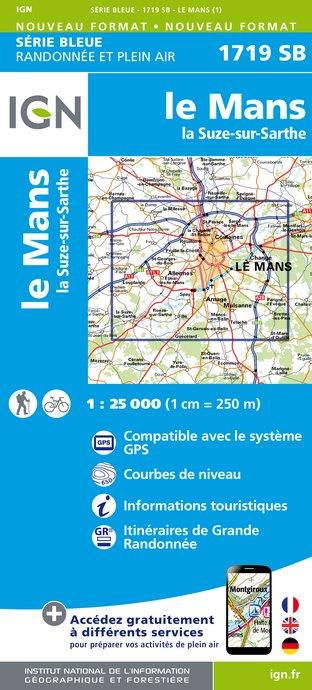 Wandelkaart - Topografische kaart 1719SB Le Mans - La Suze-sur-Sarthe | IGN