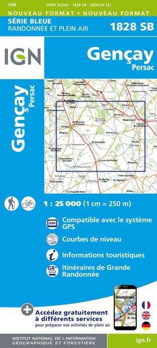 Wandelkaart - Topografische kaart 1828SB Gençay - Persac | IGN