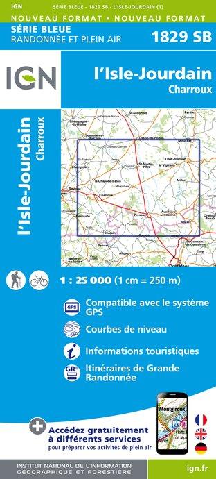 Wandelkaart - Topografische kaart 1829SB L'Isle-Jourdain - Charroux | IGN