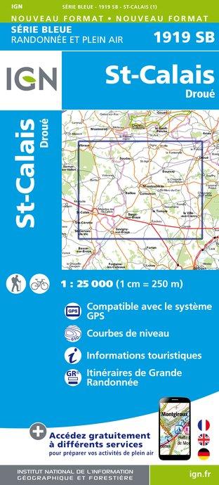 Wandelkaart - Topografische kaart 1919SB St-Calais - Droué | IGN