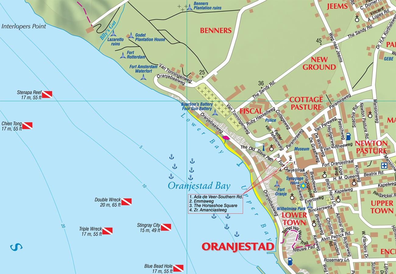 Wandelkaart Wegenkaart Landkaart St Eustatius Kasprowski - Sint eustatius map