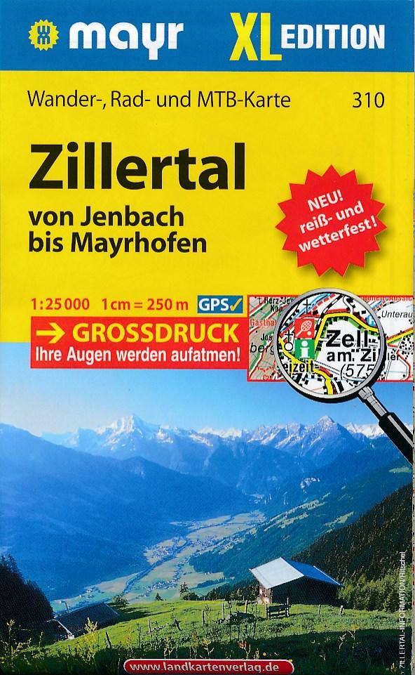 Wandelkaart - Fietskaart 310 Zillertal von Jenbach bis Mayrhofen | Mayr