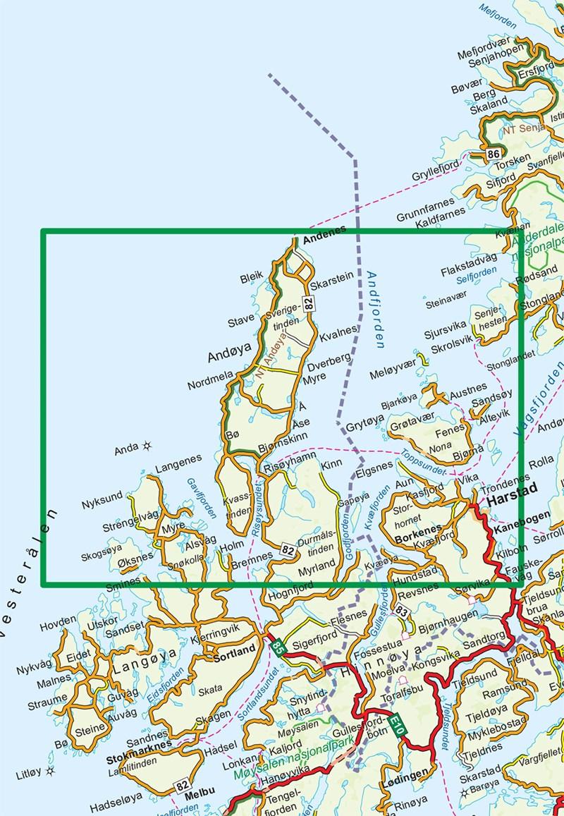 kart hinnøya Wandelkaart 2812 Turkart Vesterålen/Vesteralen Hinnøya Nord  kart hinnøya