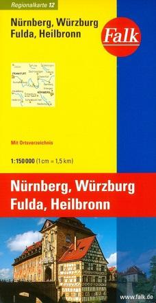 Wegenkaart - landkaart 12 Nürnberg - Würzburg - Fulda - Heilbronn | Falk