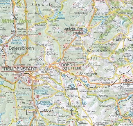 Wegenkaart Landkaart 14 Schwarzwald Zwarte Woud Falk