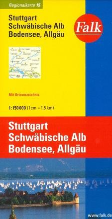 Wegenkaart - landkaart 15 Stuttgart - Schwäbisch Alb - Bodensee - Allgäu | Falk